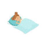 Sweet little girl sleeping on her bed cartoon character vector illustration