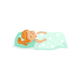 Adorable redhead little girl sleeping on her bed cartoon character vector illustration