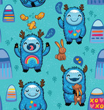 Cute monsters friendly seamless pattern. Vector illustration