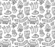 Seamless autumn background with comic pumpkin, owl, pullover in outline - 173959244