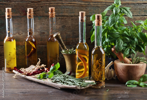 Olive oil with basil.