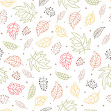 Seamless repeat pattern with autumn leaves illustration. Wallpaper design. Scrapbook page. Vector. - 173979815