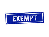 EXEMPT blue stamp seal text message on white background