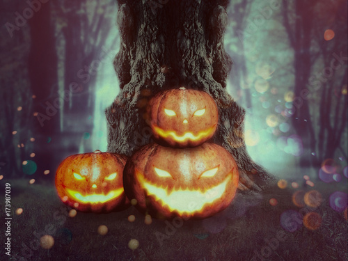 Foto op Canvas Bordeaux Spooky Tree with Pumpkins