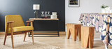 Dining room with wooden stools - 173990293