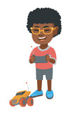 African-american cheerful boy playing with a radio-controlled car. Boy holding remote control and playing with the electric car. Vector sketch cartoon illustration isolated on white background.