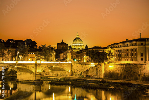 The night view of Rome from the Ponte Sant'angelo at sunset, Italy