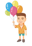 Caucasian smiling happy boy with the bunch of colorful air balloons in his hand. Cheerful boy holding the bunch of balloons. Vector sketch cartoon illustration isolated on white background. - 173996090
