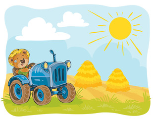 Vector illustration teddy bears tractor driver working on the field.