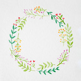 Hand drawing flowers in watercolor style on white paper background, flowers wreath with copy space for texting, greeting card background, banner