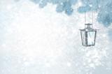 Vector Christmas  lantern  on bokeh winter background.