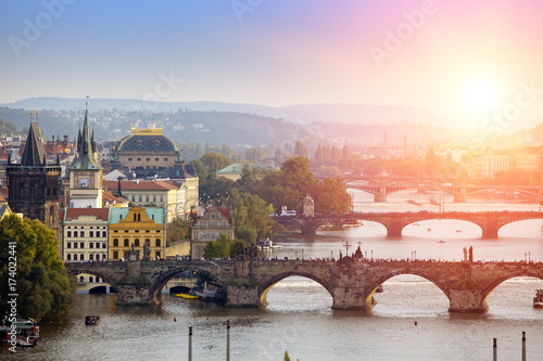 Poster Praag Prague, Czech Republic. Panorama of the old city from the embankment and bridges through the Vltava River