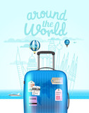 Vacation travelling composition with the bag. Summer vacation concept - 174032442