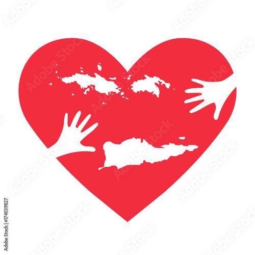 Vector Illustration: helping hands, heart, United States Virgin ...