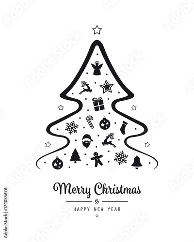 christmas lettering tree black elements isolated background