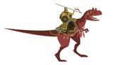 mongolian warrior riding a dinosaur