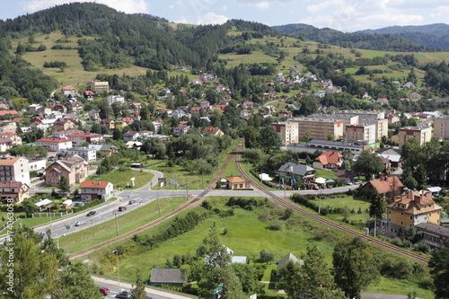 Keuken foto achterwand Olijf View from Baszta Mountain centeo of Muszyna City.