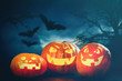Quadro Three halloween Jack O' Lantern pumpkins