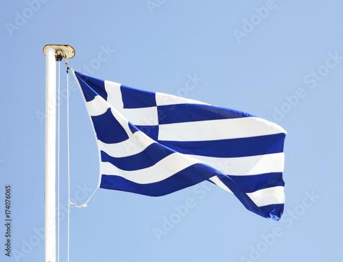 Papiers peints Athenes Greek flag on Mount Lycabettus in Athens. Greece