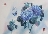 hydrangeas and butterflies are painted in watercolor. The round red seal stands for