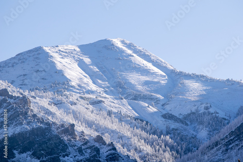 Papiers peints Bleu ciel Snow covered Wasatch Mountain Peak Utah