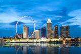 Singapore Skyline at Marina Bay During Sunset Blue Hour