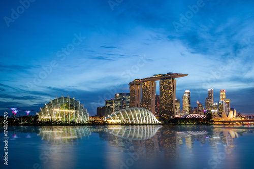 Singapore Skyline at Marina Bay During Sunset Blue Hour Poster