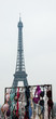 Breast Cancer Awareness event in Paris (France)  Colorful bras and Eiffel tower.