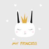 My princess. Cute kids fashion graphic. White cartoon bunny. Vector hand drawn illustration.