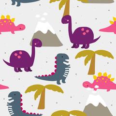 Colorful dinosours seamless pattern. Vector hand drawn illustration. © bilaaa