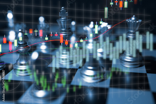Chess board game concept of business competition and strategy with stock market Poster