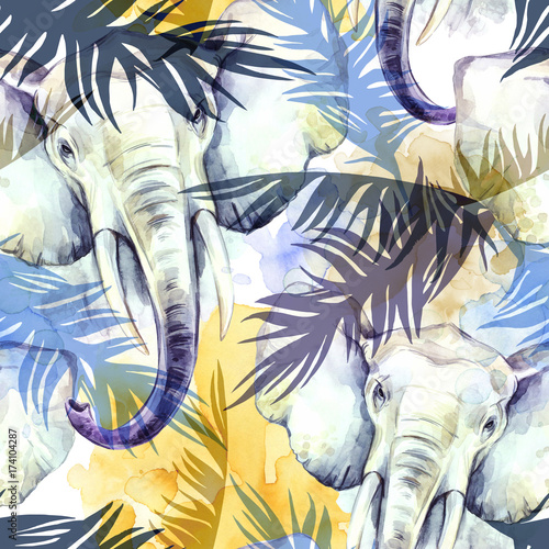 Watercolor exotic seamless pattern. Elephants with colorful tropical leaves. African animals background. Wildlife art illustration. Can be printed on T-shirts, bags, posters, invitations, card. - 174104287