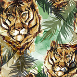 Watercolor exotic seamless pattern. Tigers with colorful tropical leaves. African animals background. Wildlife art illustration. Can be printed on T-shirts, bags, posters, invitations, card. - 174104483