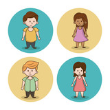 Little kids cartoon icons icon vector illustration graphic design