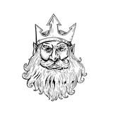 Poseidon Wearing Trident Crown Woodcut - 174135464