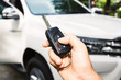 Woman hand holding a car key remote