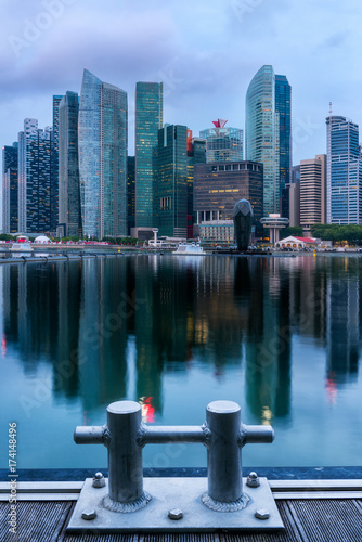 Singapore financial center and highrise building skyline, Business downtown Poster