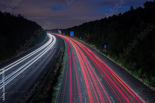Poster Nacht snelweg Road night