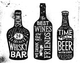 Alcoholic beverages, hand drawn lettering set - 174158875
