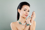 Cute Woman on Banner Background. Glamorous Makeup, Necklaces and Bracelet - 174159447