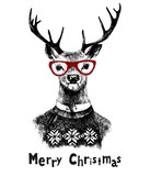 Christmas card with deer - 174160098