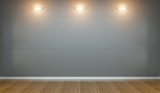 Empty wall in museum with lights 3D rendering - 174161496