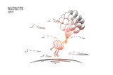 Imagination concept. Hand drawn brains flying with balloons. Flying brains as symbol of imagination isolated vector illustration. - 174170009
