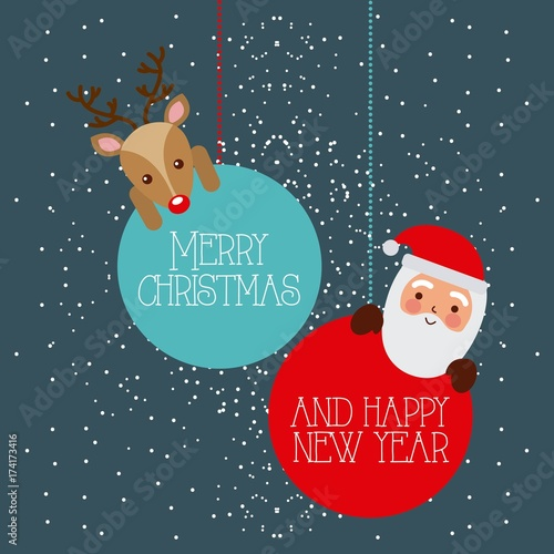 In de dag Bol merry christmas and happy new year santa and deer hanging balls vector illustration