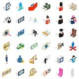 Romance icons set, isometric style - 174173694