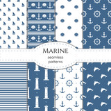 Set of marine seamless minimalistic vector patterns