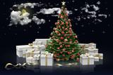 Albero di natale decorato e regali su sfondo cielo stellato.. - 174176042