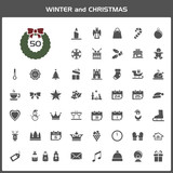 Winter and Christmas vector icon set