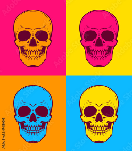 Canvas Pop Art Graphic illustration of Pop Art skull