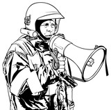 Fireman with Megaphone in Hand - Black and White Illustration, Vector - 174187870